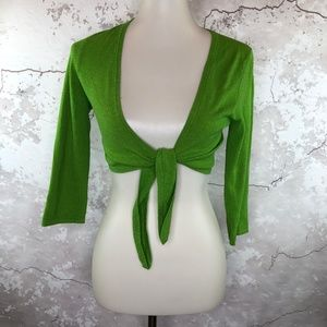 Trina Turk Lime Green Tie Front Knit Shrug Small